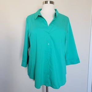 Worthington Green Button Front Shirt Plus Size 3XL
